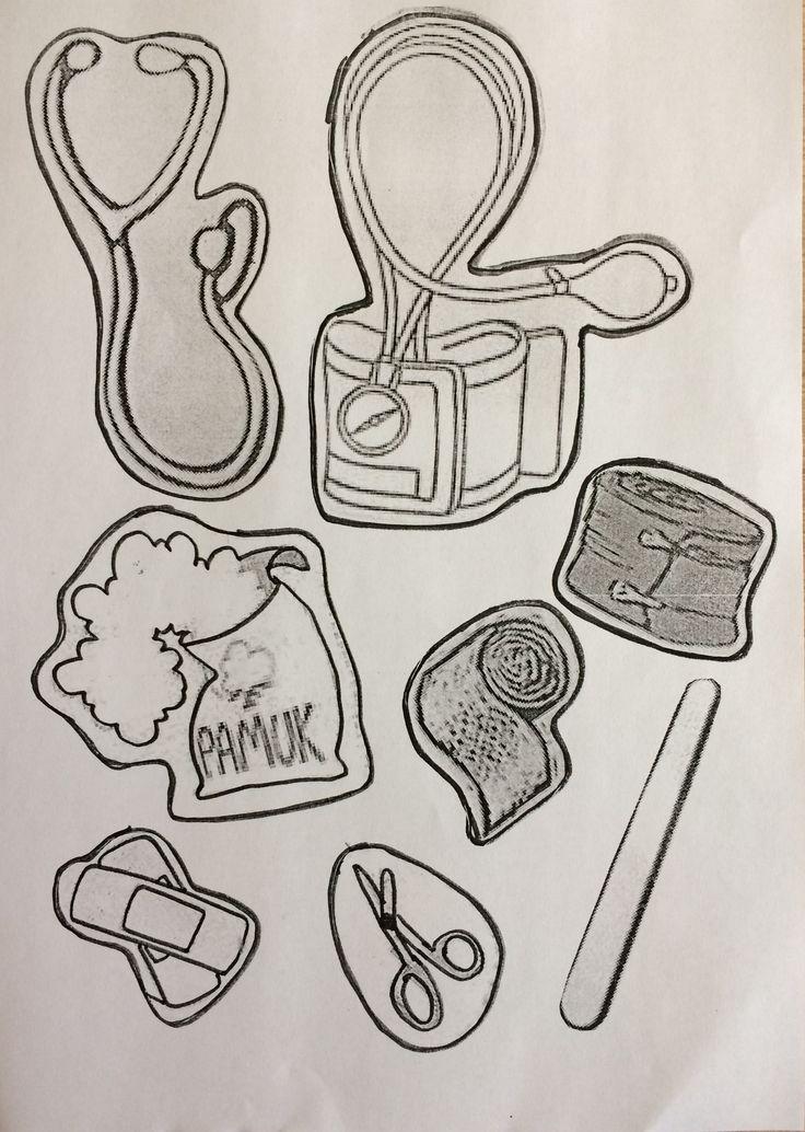 İlkyardım çantası malzemeleri boyama sayfası