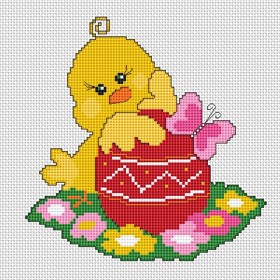 Easter Chick free cross stitch pattern