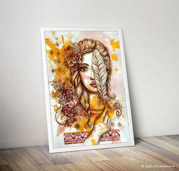 Feather Woman. Watercolor Woman Face Illustration Giclée Print by Egle Stripeikiene / EgleMANDALAdesign on Etsy