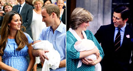 Kate Middleton and Prince William with new born; Princess Diana and Prince Charles with baby Prince William