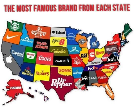 Twitter / sm: Love this map showing the most popular brand from each state.