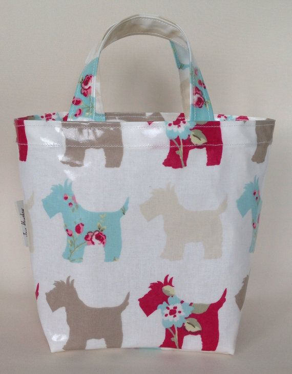 Scottie dog oilcloth lunch bag mini tote by JaneHenshawDesigns