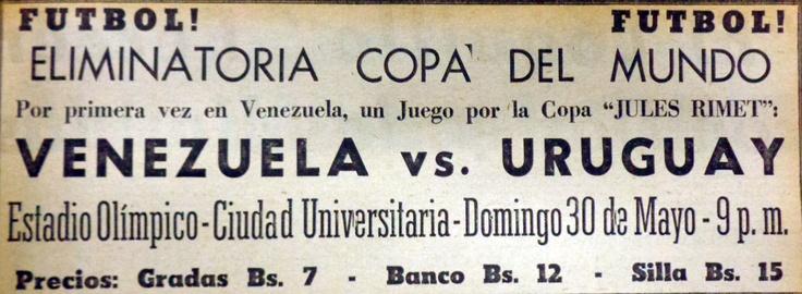 Promoción publicada en Últimas Noticias para el juego Venezuela-Uruguay en 1965, celebrado en el Estadio Olímpico de la UCV