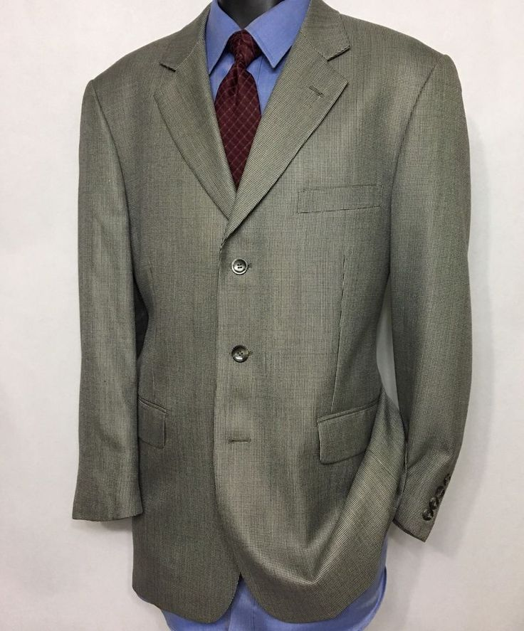 STAFFORD Mens Gray Suit Jacket Size 42R | Silk Wool 3 Button Sport Coat #Stafford #ThreeButton