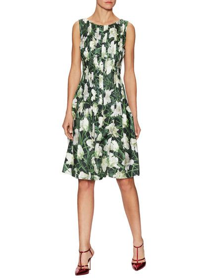 Silk Floral Pleated Fit And Flare Dress by Oscar de la Renta at Gilt