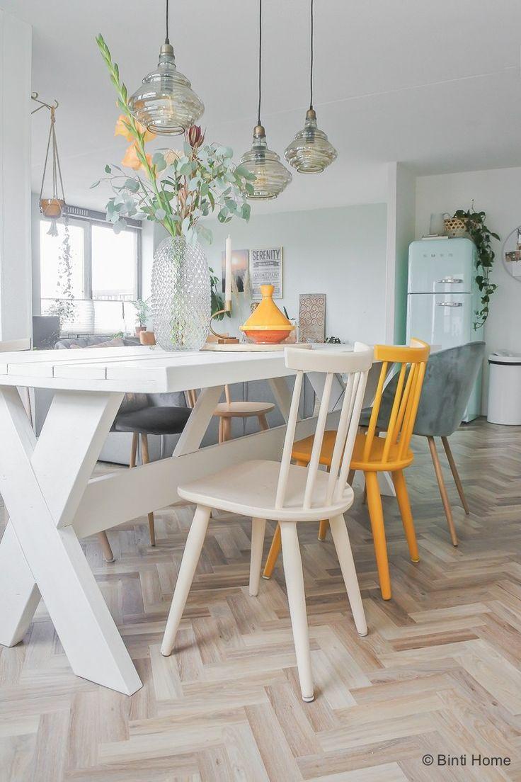 Eettafel wit verven voor eetkamer make-over ©BintiHome