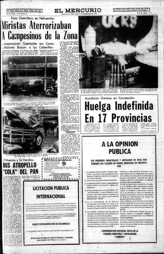 Chile: Esto decía El Mercurio y La Tercera a 8 días del golpe | El Dínamo