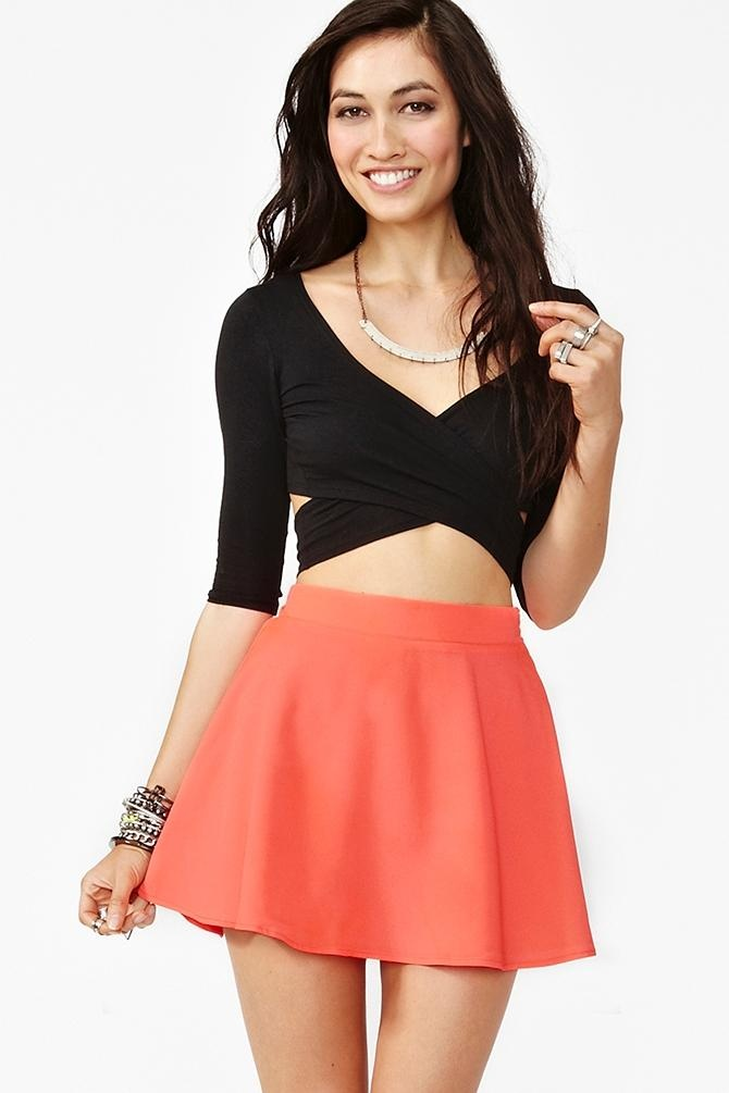 Silk Circle Skirt - Neon Coral by Naven