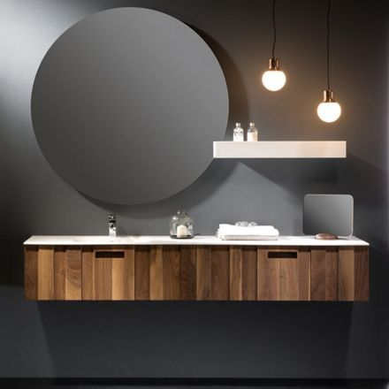 Mobilier suspendu pour salle de bains en bois massif quip de 2 tiroirs de - Hauteur d un meuble de salle de bain suspendu ...