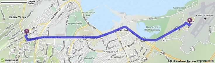 Driving Directions from Kahului Airport (OGG) in Kahului, Hawaii 96732 to 1968 E Vineyard St, Wailuku, Hawaii 96793   MapQuest (Four Sisters Bakery)