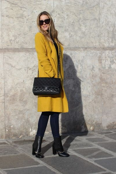 Zara yellow wool wrap coat