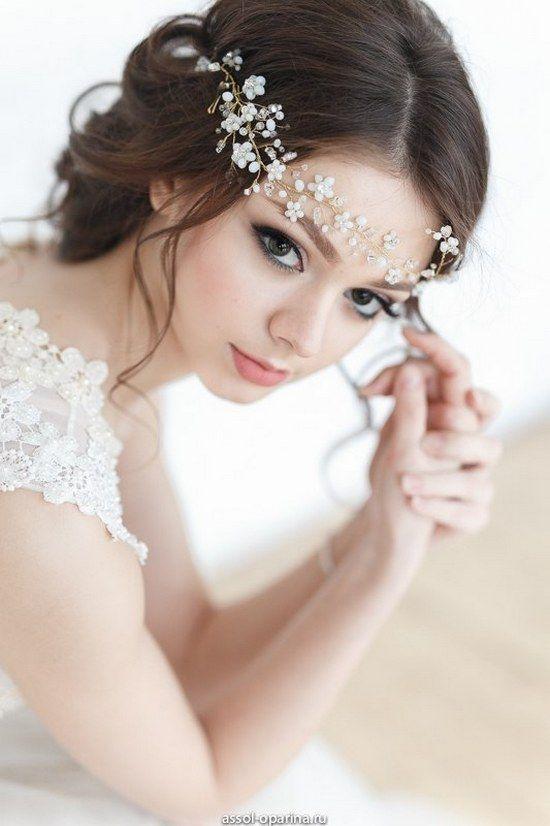 Crystal Decorated Wedding Bridal HeadBand HeadPiece Bridal Halo Bridal Hair Vine Tiara Diadem Veil Chaplet Bridal Hairpiece / http://www.deerpearlflowers.com/wedding-hairstyle-with-bridal-headpieces/