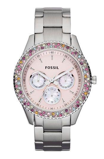 Fossil 'Stella' Crystal Bezel Multifunction Watch
