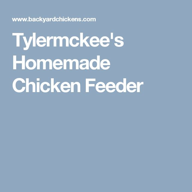 Tylermckee's Homemade Chicken Feeder