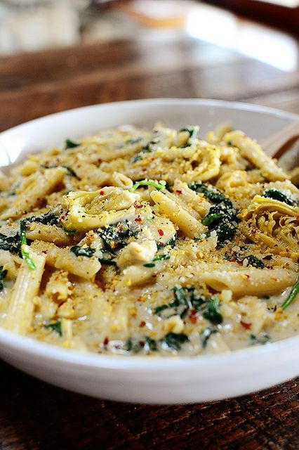 Spinach Artichoke Pasta..this was good!  I added pepper flakes on each 'step', more cheese than called for and multicolor penne.  Next time I will add some chopped onion with the garlic step.  I think it would be fantastic with chopped chicken (or turkey?)...this is MY idea of mac and cheese!!!