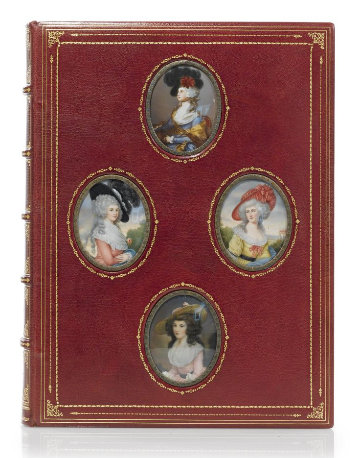 A handsome Cosway-style binding with 4 oval portrait miniatures after Gainsborough, painted on ivory and set in the upper cover. Red levant morocco, double-fillet border, parallel gilt line-and-dots and tiny scrollwork rules, the miniatures surrounded by plastic frames with embossed small flowers and a gold-tooled frame of small dots and circles, gilt edges, gilt-ruled turn-ins, red watered-silk doublures and endleaves, by the Chelsea Bindery, in a red half-morocco drop-box.