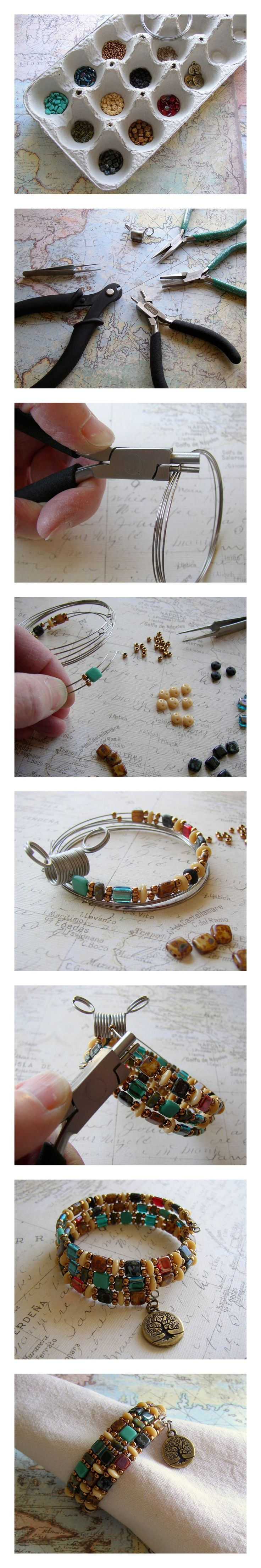 DIY Beaded Napkin Ring (or bracelet!).  Use memory wire, Czechmates two-hole beads, and a TierraCast charm to make this easy jewelry project.  Free instructions on Rings & Things jewelry making blog.