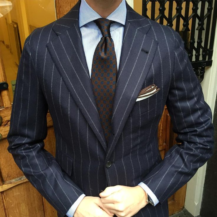 """Tom of Viola Milano is wearing a """"Diamond Pattern self-tip silk - Brown"""" tie, """"Brown"""" shoestring Border Linen pocket square with handrolled edges & """"Classic Striped"""" shirt from our Classic shirt line we launch 15th of August… Suit by..."""