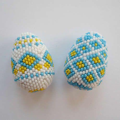 Oeufs décorés avec des perles #oeufs #perles