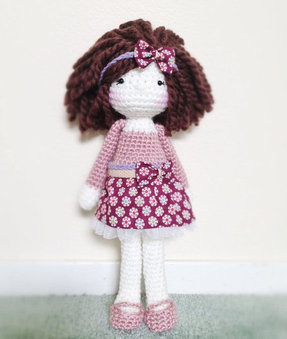 Curly brown haired cutie.. Crochet doll I made. Love the way she came out. #amigurumi #crochet #doll #sweet #madebyme