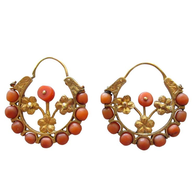 Pair of Antique 9k Gold and Coral Earrings - Mexico   c,1910