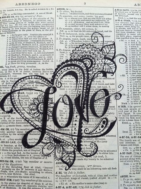 Up-cycled Dictionary Art by Nola - love seeing art on book pages! #zentangle #doodles