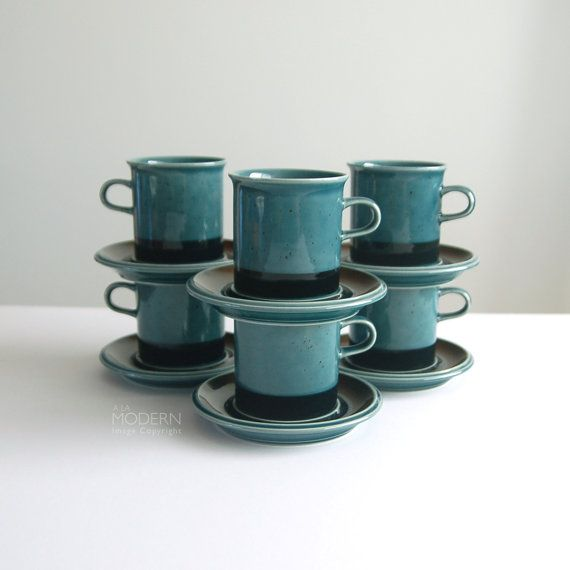 Set of 6 Arabia Finland Meri Cup Saucer Sets