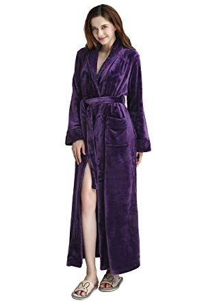 Womens Long Robe Fleece Dressing Gown Plush Luxury Bathrobe Ladies Shawl  Collar Hayley s Online Catalogue 9bceadb86