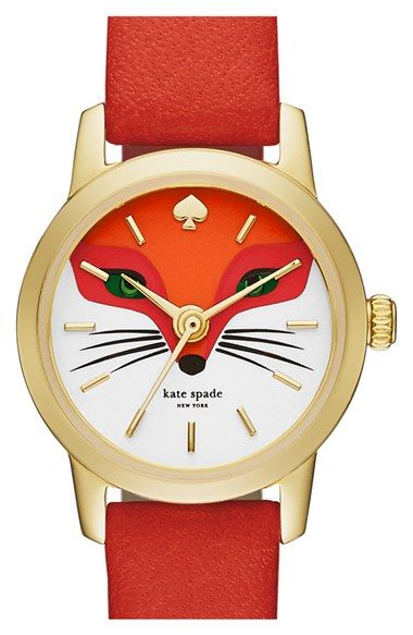 kate spade new york kate spade new york 'metro - fox' leather strap watch, 20mm available at #Nordstrom