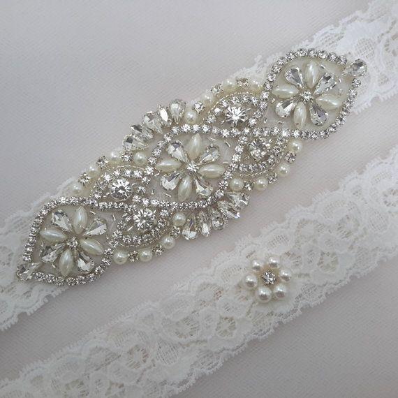 Bridal Garter Wedding Set Ivory Rhinestone