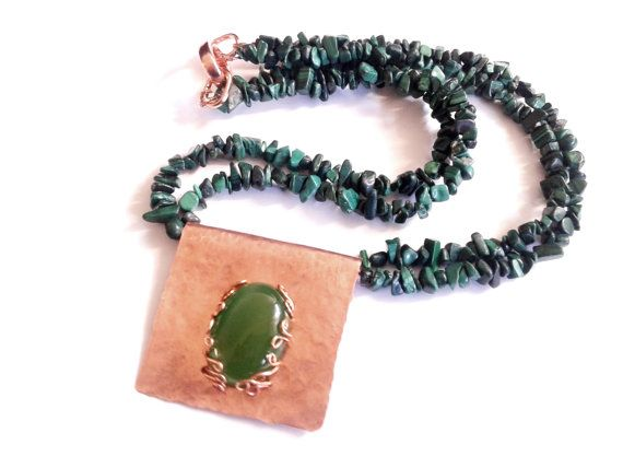 malachite necklace agate pendant copper pendant multi by tizianat