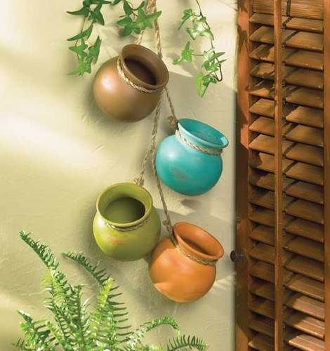 Dangling Santa Fe Mini Pots for indoor or outdoor decor for Southwestern Flare