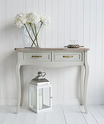 Bridgeport grey console table with drawers for grey hallway furniture. The washed top makes this table perfect cottage interiors, coastal and New England style homes