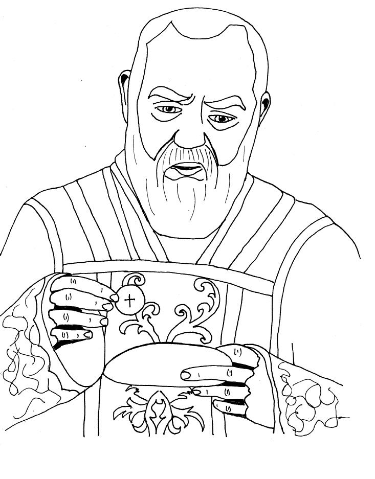 padre pio catholic coloring page st pios feast day is september - Catholic Coloring Pages Printable