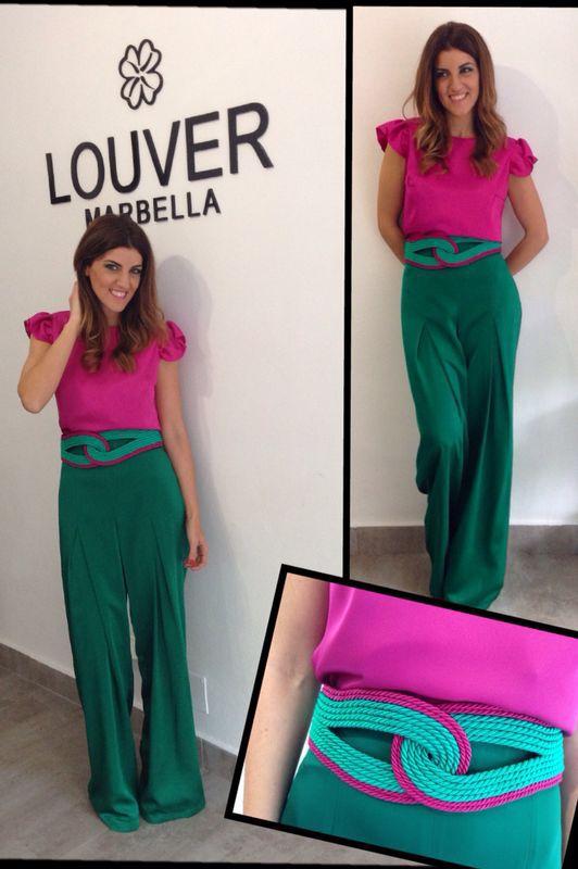 #louvermarbella#pantalon#verde#blusa#fucsia#cinturon#pasamaneria