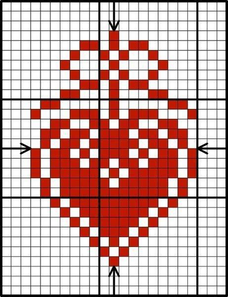 Scandinavian Red & White Heart, designed by Lesley Teare, from her blog. #diy #crafts
