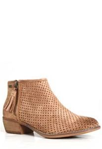 Roxy Shoes Fuentes Perforated Ankle Booties in Brown ARJB700488-BRN