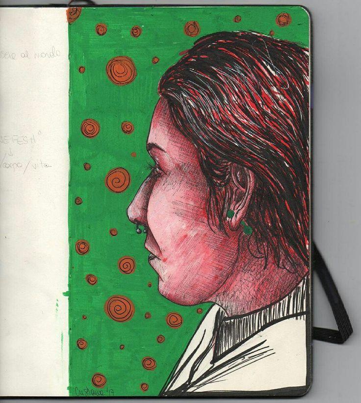Woman's portrait illustration by @distrofiamuscolare in IG   #illustration #woman #portrait #anatomy #illustrazione #illustator #artshoutout #artistshoutout #red #green