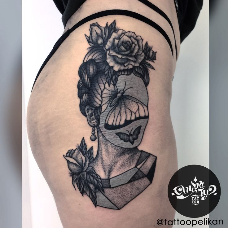 Frida's head by @tattoopelikan #chybatytattoo #katowice #tattoo #silesia #dotwork #dotworktattoo #dots #dot #dottattoo #darkart #polandtattoos #black #ink #blackwork #chybaty #frida #fridatattoo #rose #butterfly