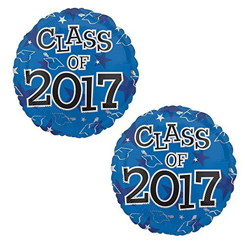 """Class of 2017 Graduation Foil 17"""" Balloons, 2 Pack (Blue):   Includes 2 Blue 17"""" round Class of 2017 graduation foil balloons. """"Class of 2017"""" is printed on both sides of the balloons. Use balloons for your graduation party centerpieces or balloon bouquets. These balloons are perfect decorations for your 2017 high school or college graduation party. Excellent alternative for those with allergies to latex. Balloons come packaged flat and deflated. Helium not included."""
