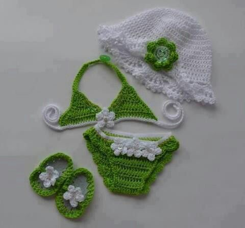 Crochet Baby Girl Bathing Suit and Accessories!!  Too Cute!