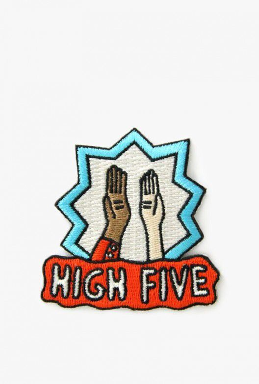 High Five Patch  pins >> hard enamel pin >> soft enamel pin >> lapel pin >> embroidery >> embroidered patches >> iron on patch >> sew on patch >> style >> fashion >> cute >> hipster >> tumblr