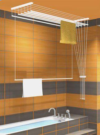 étendoir à linge suspendu au plafond ETEND'MIEUX® 7 barres (largeur 59 cm) x 1 m 30, capacité d'étendage 9 m 10