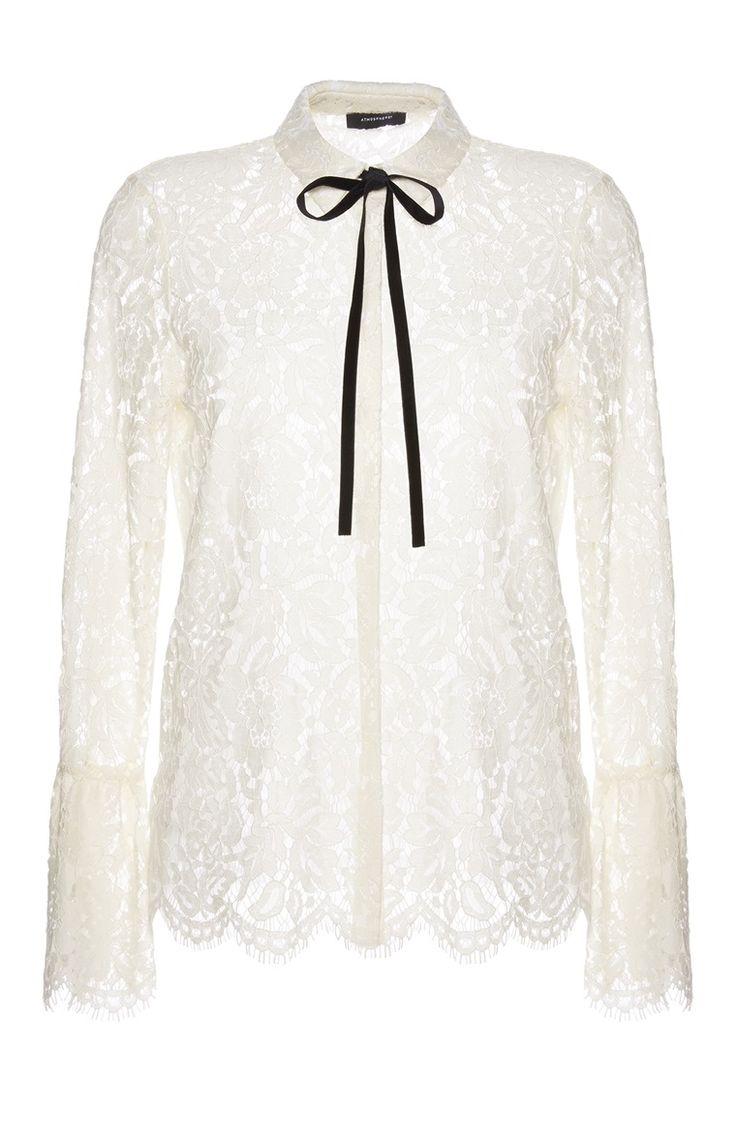 Primark - Blusa rendada com laço branca