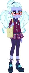 Size: 1217x3000 | Tagged: artist:doctor-g, bag, clothes, crystal prep academy uniform, dance magic, equestria girls, female, glasses, safe, school uniform, shadowbolts, shoes, simple background, skirt, socks, solo, spoiler:eqg specials, standing, sugarcoat, transparent background, vector