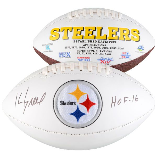 """Kevin Greene Pittsburgh Steelers Fanatics Authentic Autographed White Panel Football with """"HOF"""" Inscription - $189.99"""