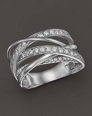 Diamond Multirow Crossover Ring in 14K White Gold, 1.15 ct. t.w. | Bloomingdale's