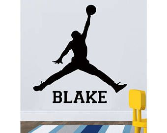 purchase cheap d3e38 ec5f3 Basketball Custom Name Wall Decal - Michael Jordan Wall Decal - Jump man  Decal - Sports Wall Art - Vinyl Wall Decal