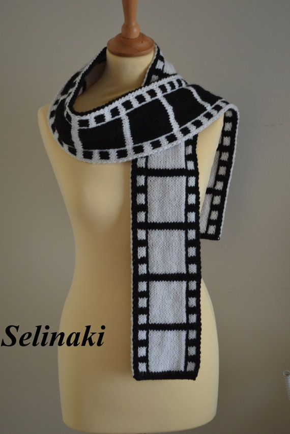 Knit Filmstrip Scarf  The scarf is double sided (one side is white, the other side is black), handmade by me with 100% acrylic yarns.  Approximately 188 cm long x 12.5 cm wide (74 inches long x 5 inches wide)  Ready to ship.  Thanks for looking and please contact me for any questions.