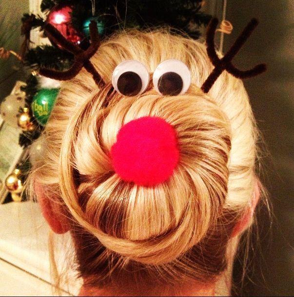 Rudolph hair for tacky Christmas sweater party                                                                                                                                                      More